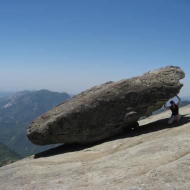I guarantee this rock won't fall...